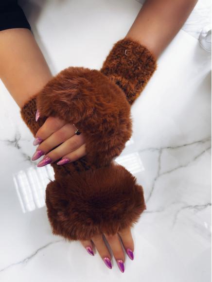 Brązowe  Rękawiczki  Z...