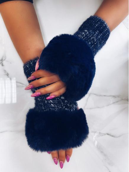 Granatowe  Rękawiczki  Z...