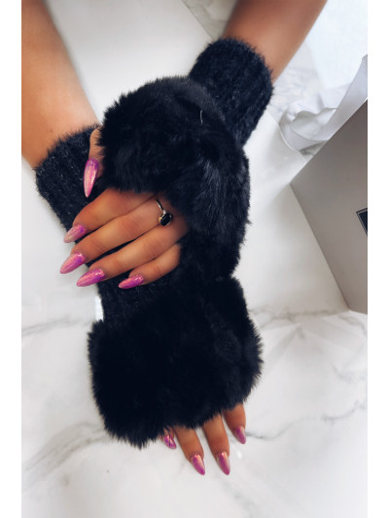 Czarne  Rękawiczki  Z...
