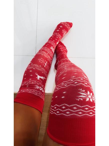 Zakolanówki  236  Red  Świąteczne